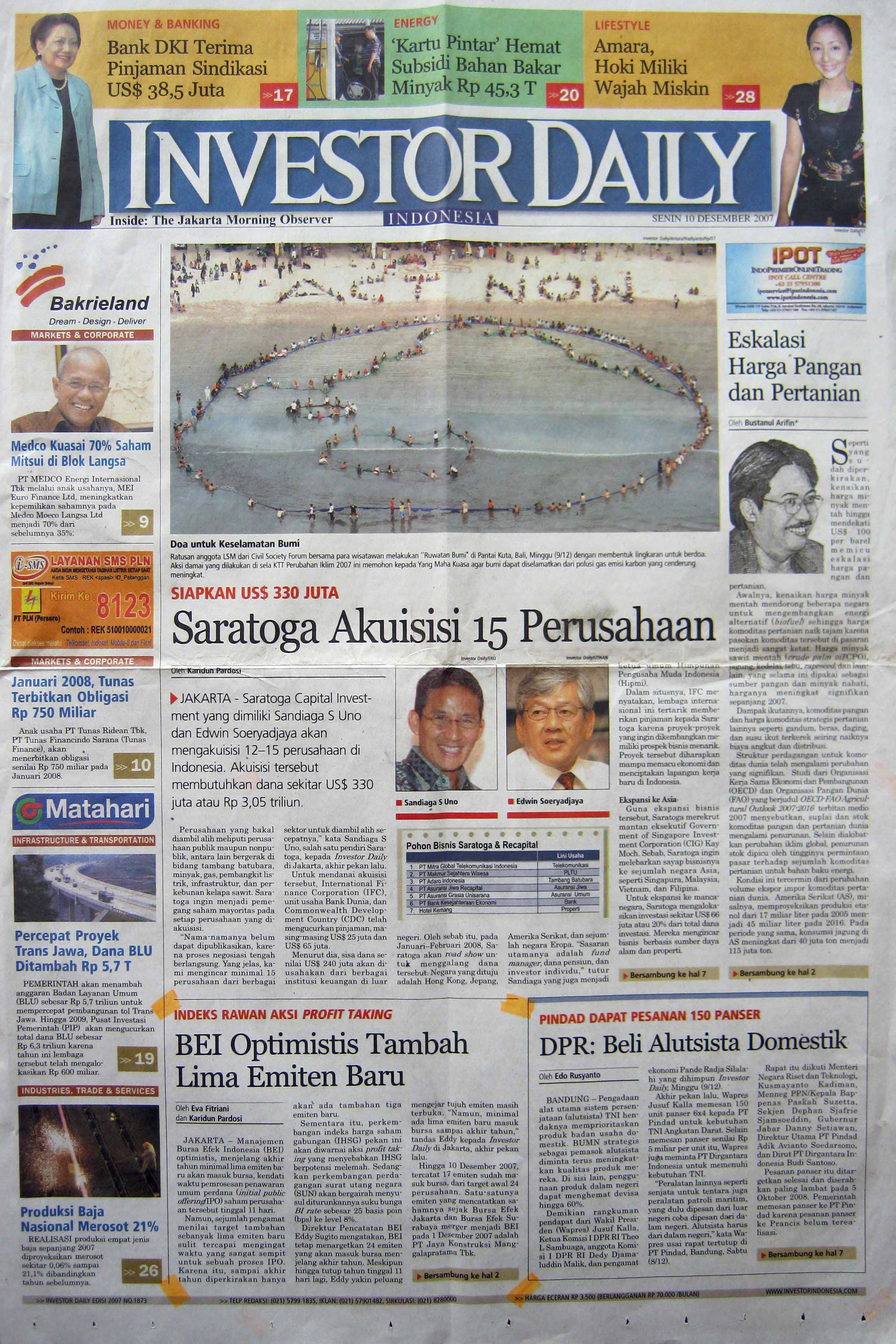 10. 10 Desember 2007 - BEI Optimistis Tambah Lima Emiten  Baru