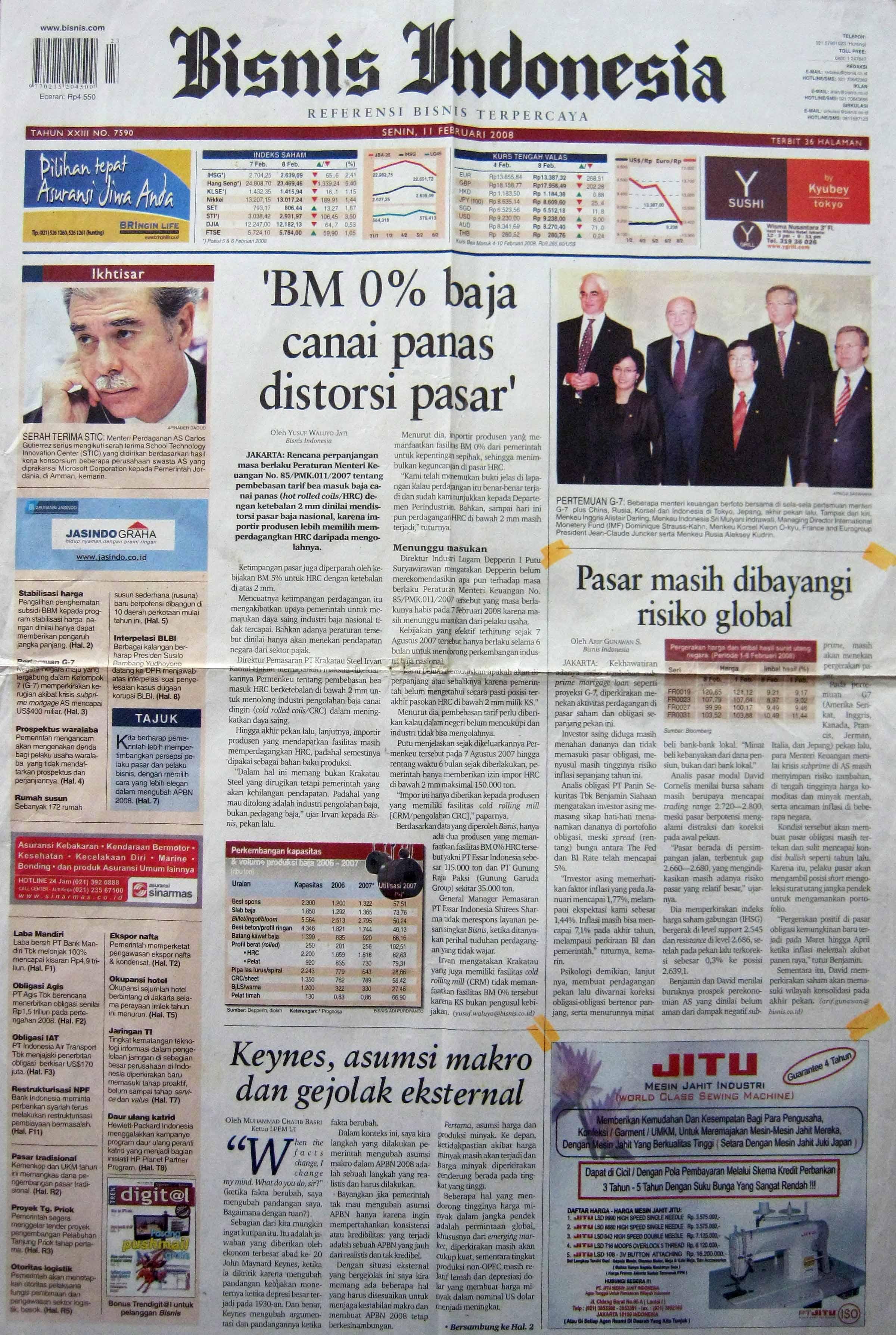 16. 11 Februari 2008 - Pasar Masih Dibayangi Risiko  Global