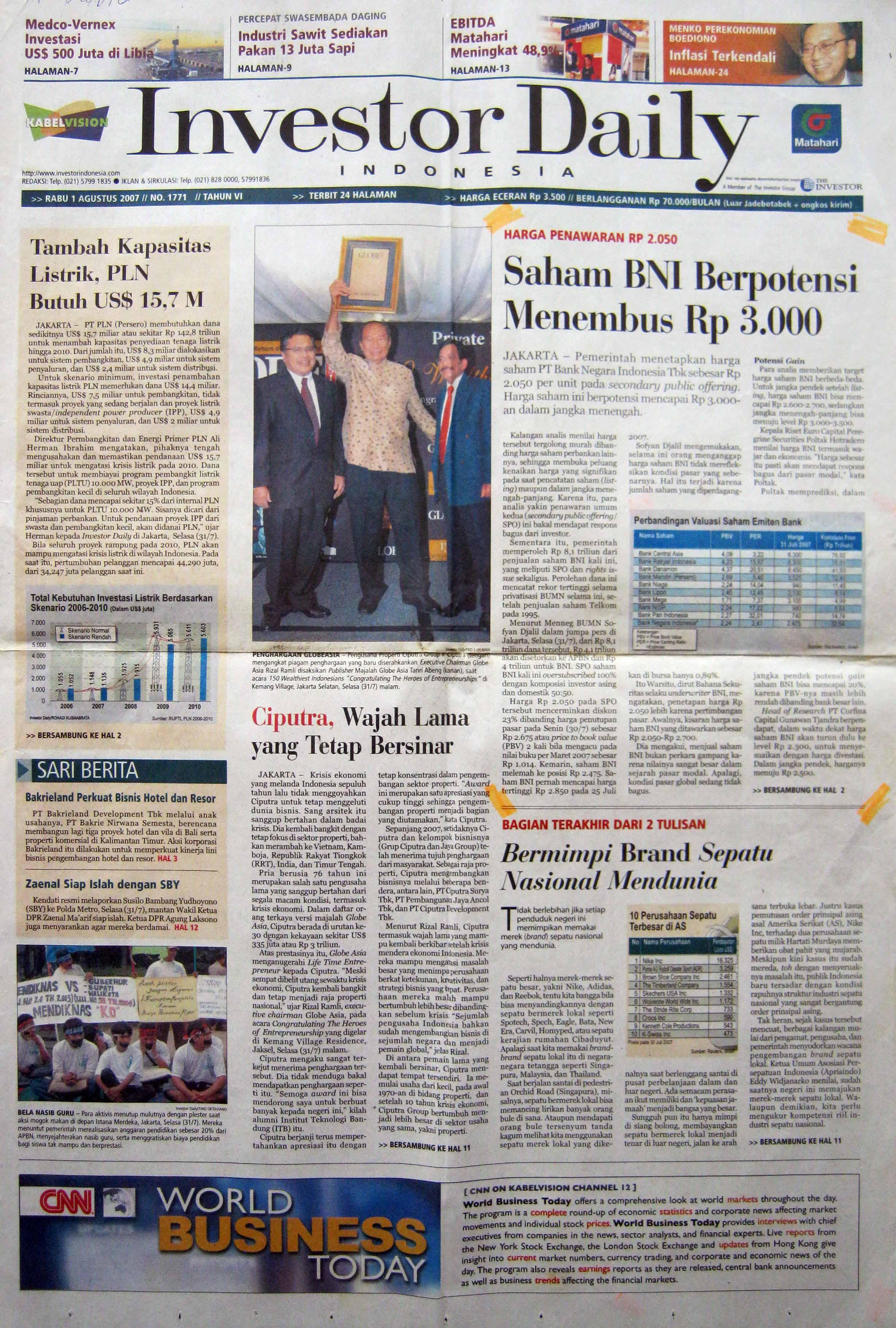 4. 01 Agustus 2007 - Saham BNI Berpotensi Menembus Rp  3.000