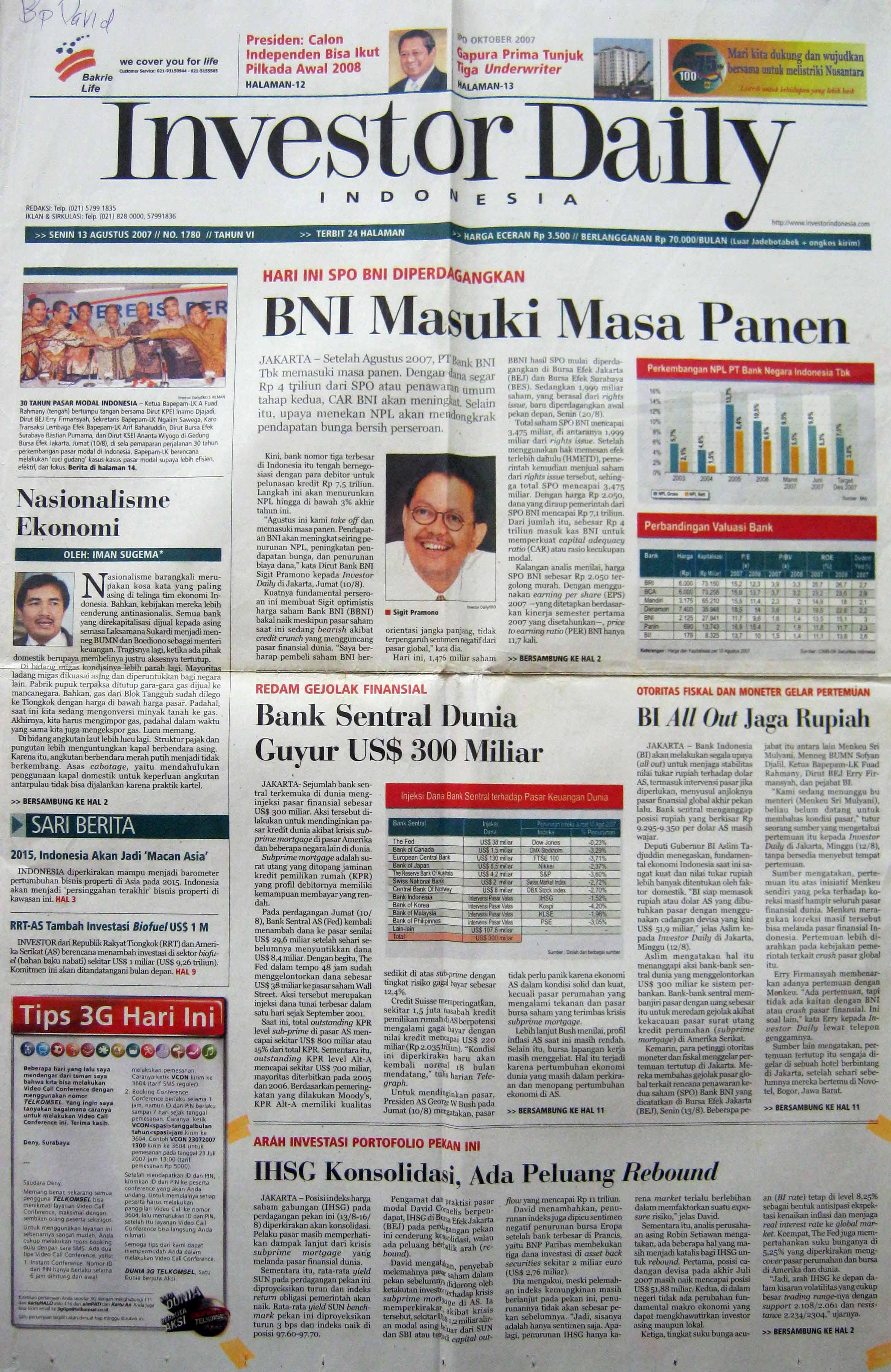 6. 13 Agustus 2007 - IHSG Konsolidasi, Ada Peluang  Rebound