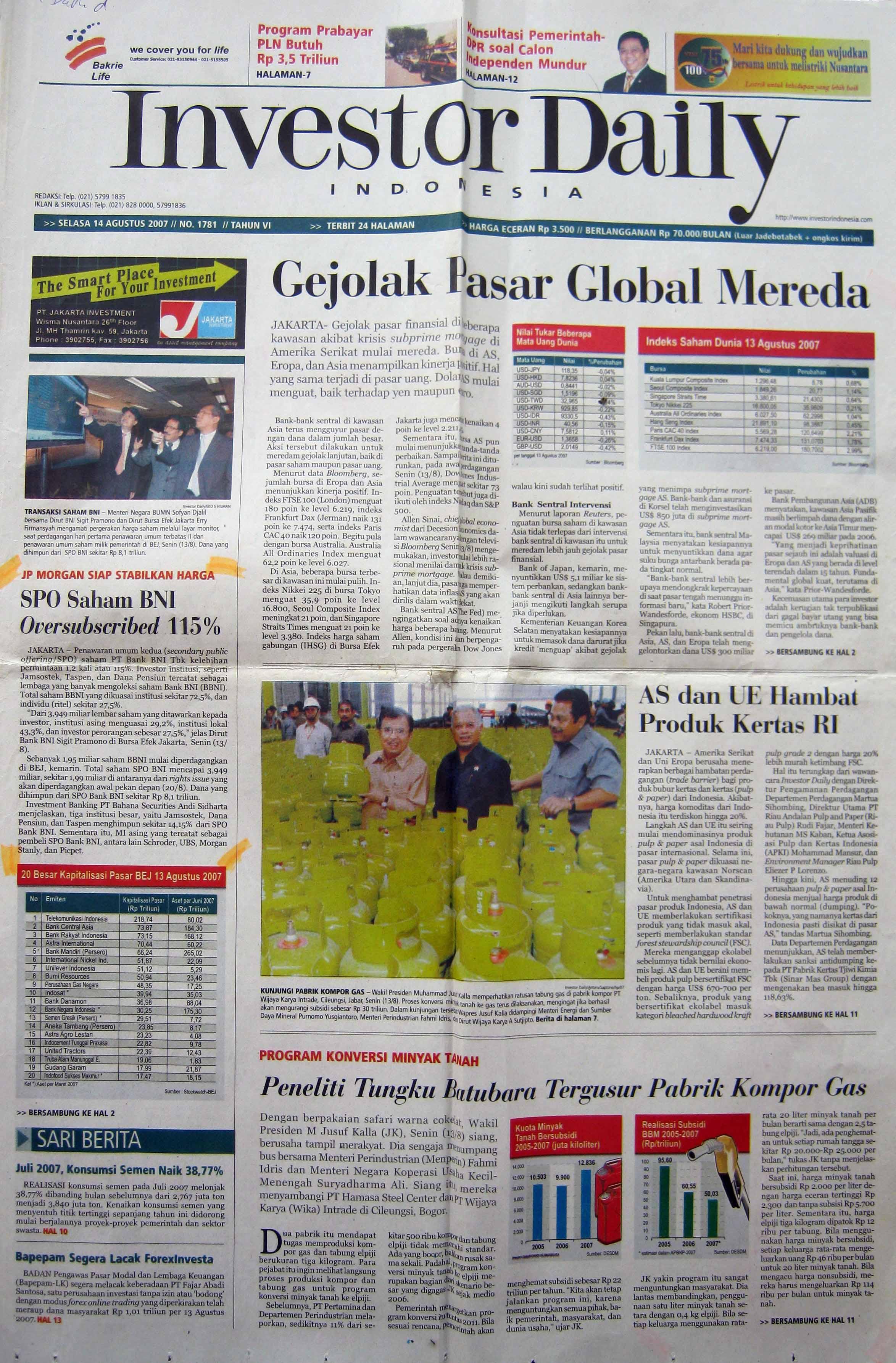 7. 14 Agustus 2007 - SPO Saham BNI Oversubscribed  115%