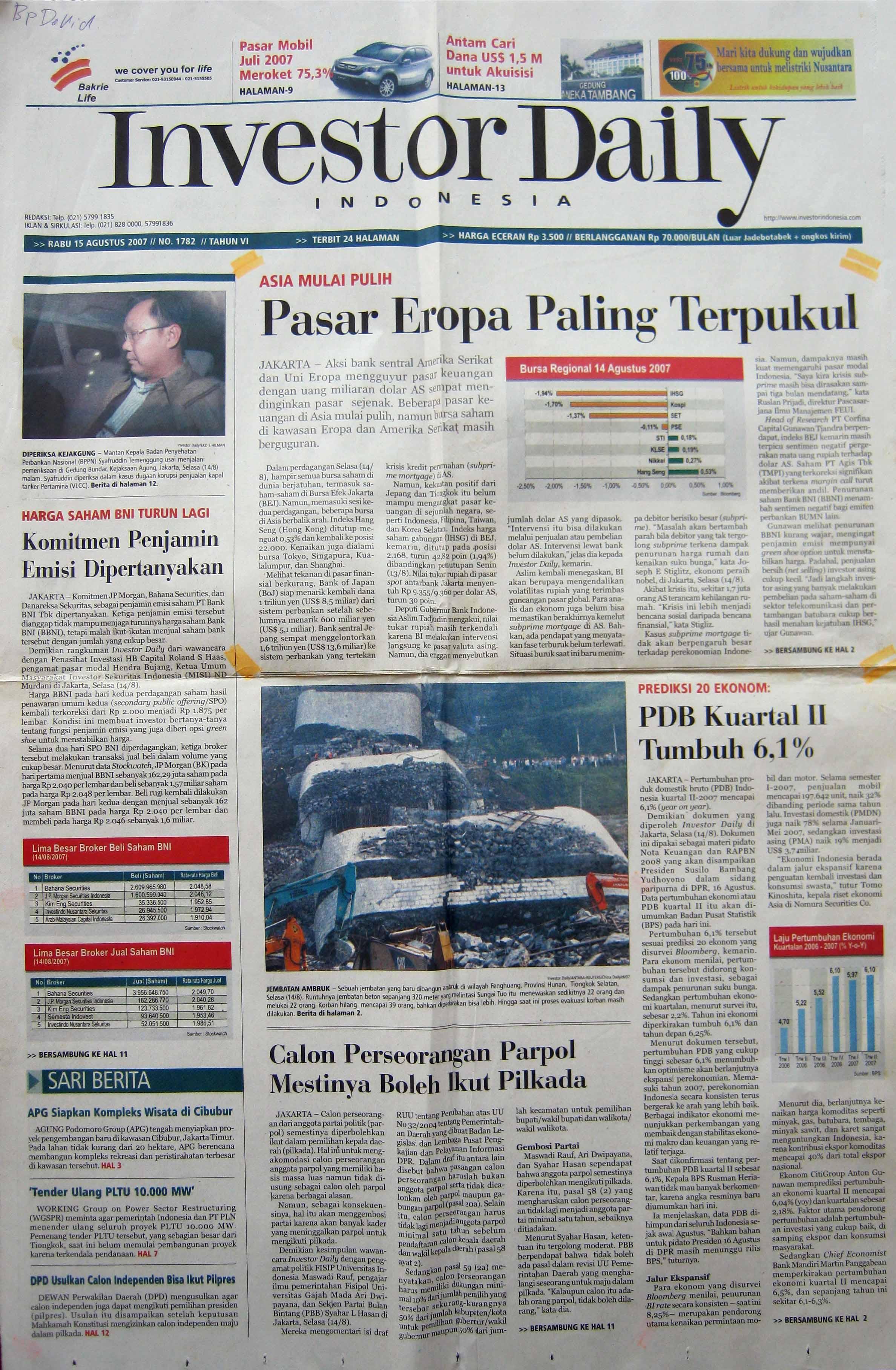 8. 15 Agustus 2007 - Pasar Eropa Paling Terpukul
